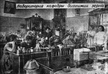 Лаборатория кафедры биохимии зерна. Фото в брошюре «Одесский технологический институт им. М.В. Ломоносова». 1963 г.