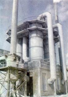Абсорбционная установка цеха гранулирования суперфосфата. Фото в брошюре «Одесский суперфосфатный завод», 1986 г.