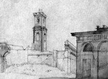 Старый базар, центральный павильон, художник Губер, 1921 г.