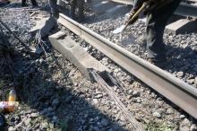 Последствия взрыва на железнодорожных путях